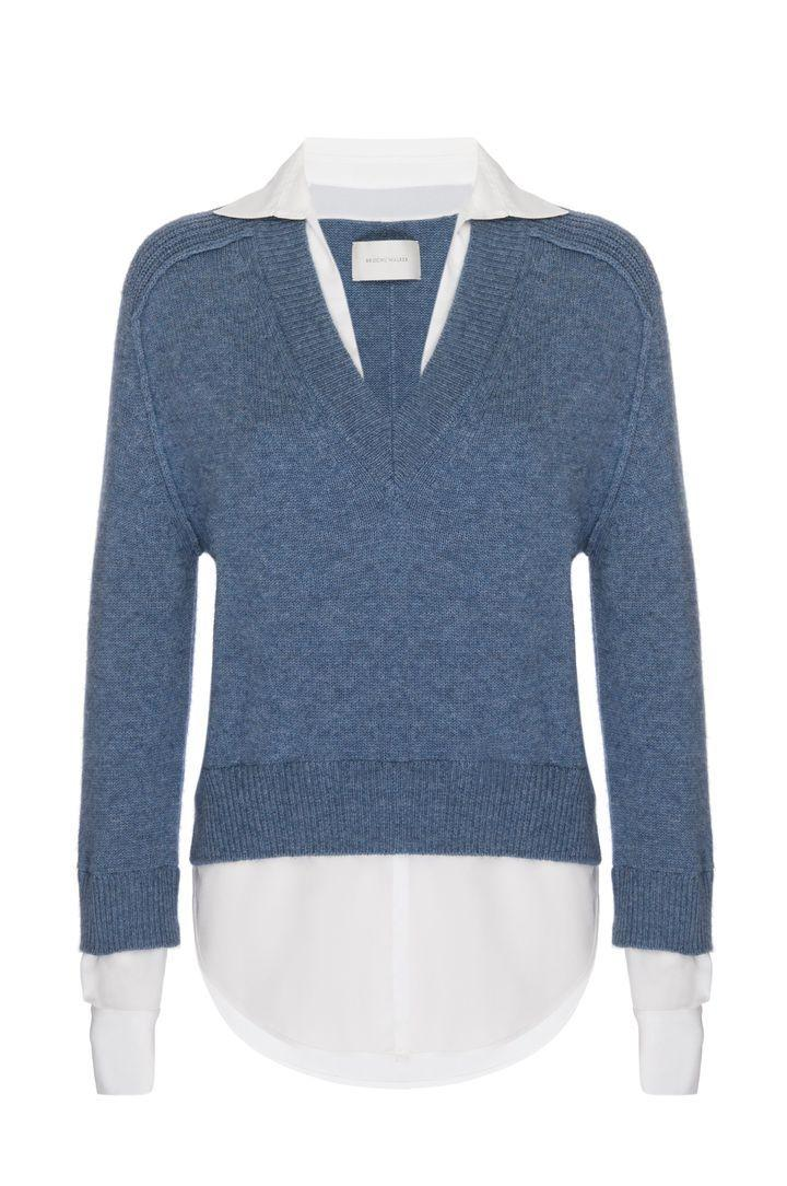 Alum V- Neck Layered Looker Sweater Item # JER3416