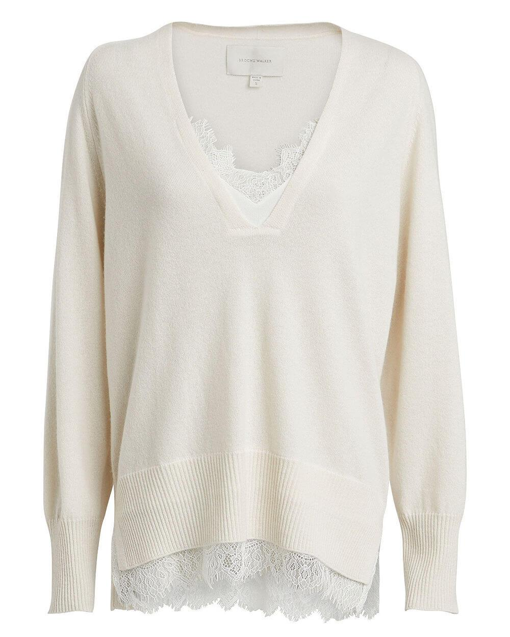The Looker Layered Lace V- Neck Sweater Item # JER2985-F20