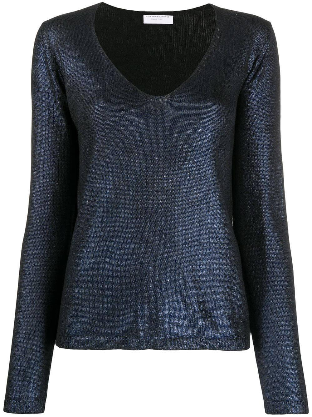 Metallic V- Neck Sweater Item # K069-FPU176