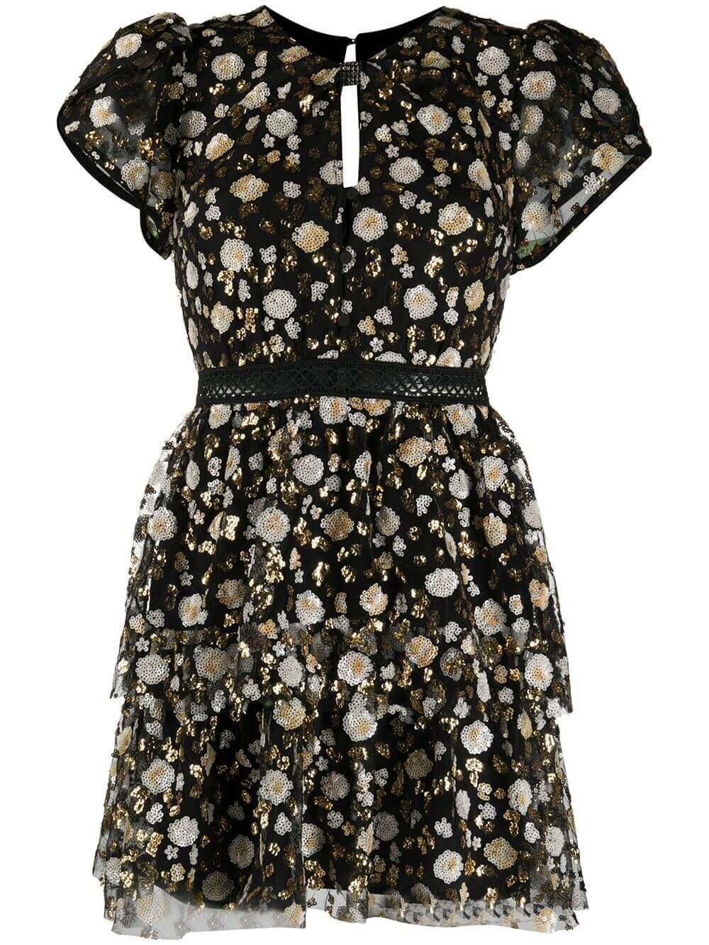 Sequin Mesh Floral Mini Dress