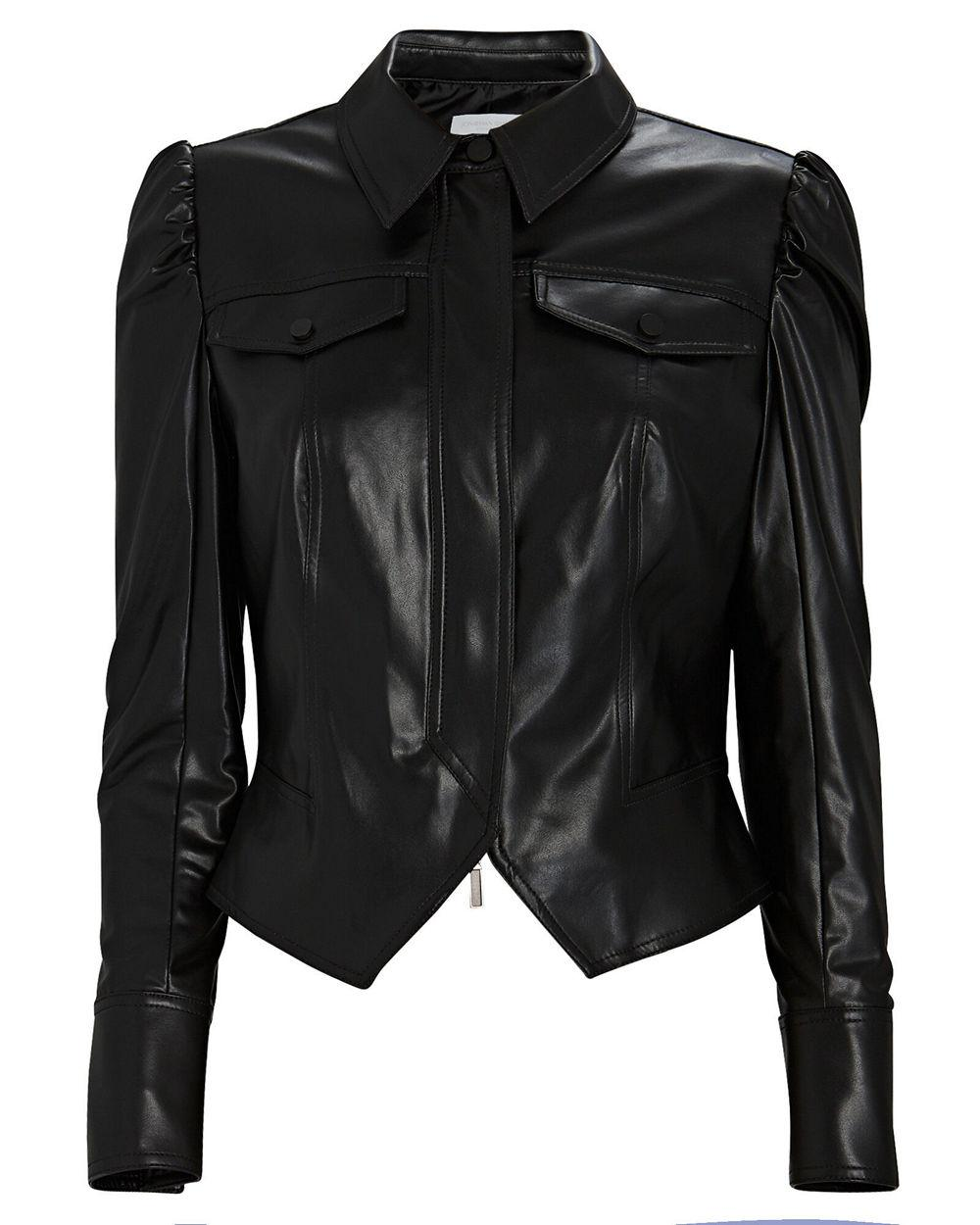 Vegan Leather Puff Sleeve Jacket