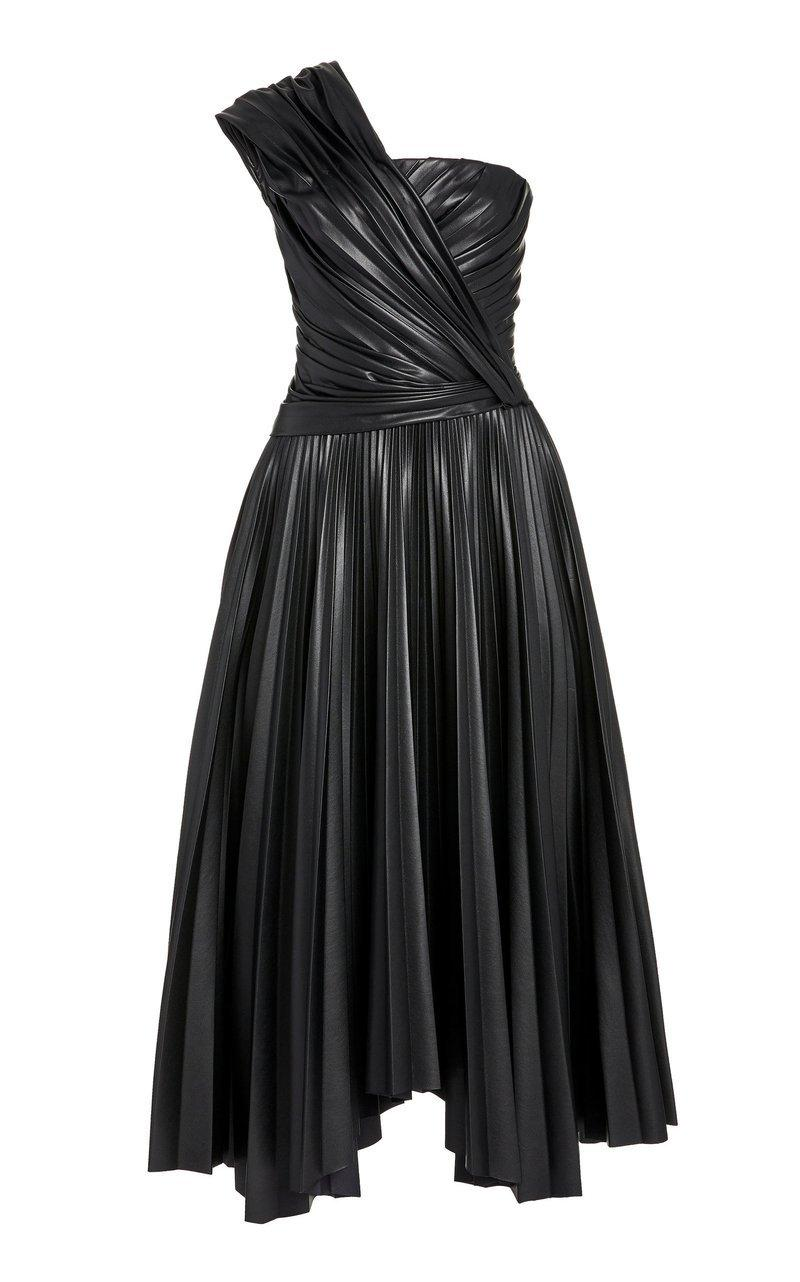 Vegan Leather Knot Midi Dress Item # 520-1043-L