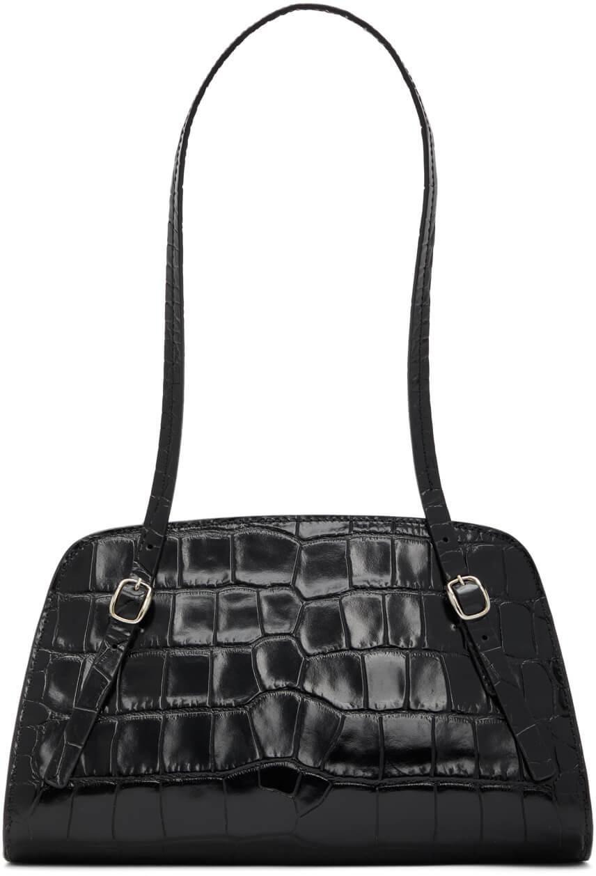 Lora Croc Embossed Shoulder Bag Item # 20FWLRSBLDMED
