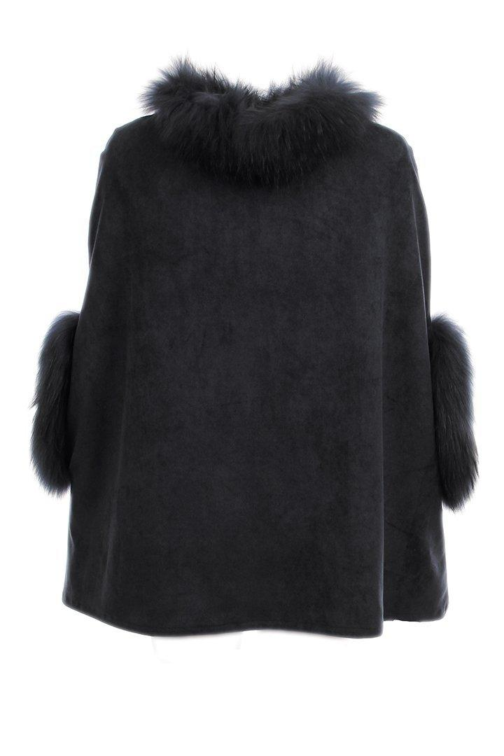 Faux Suede Poncho With Fur Trim