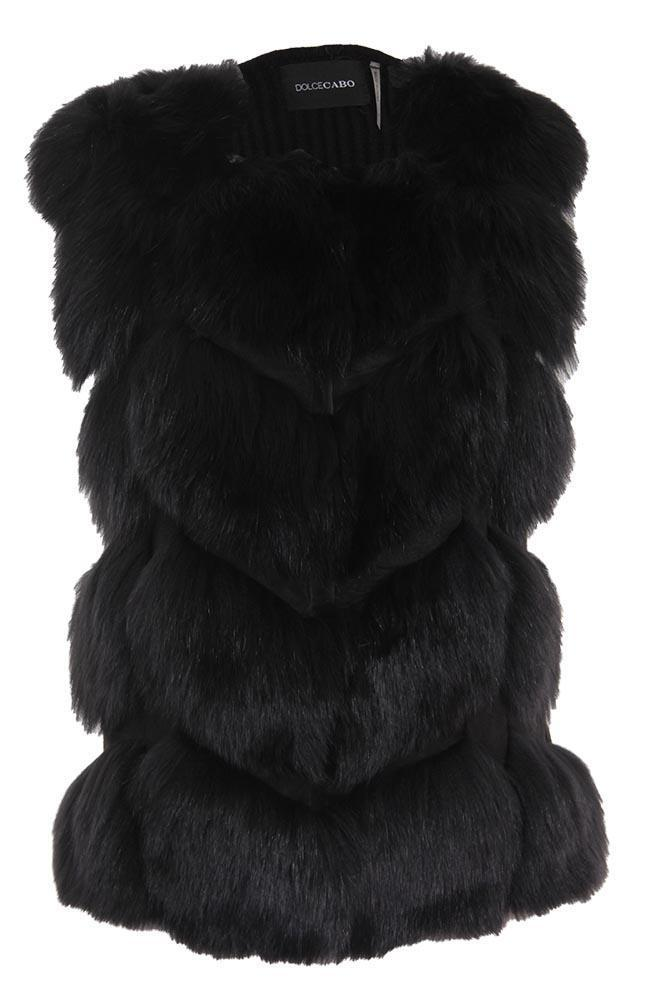 Fur Vest With Knit Back