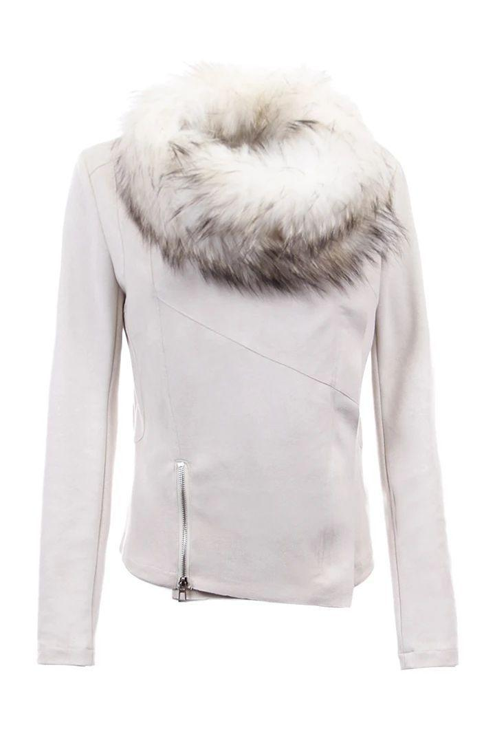 Faux Suede Jacket With Fur Collar