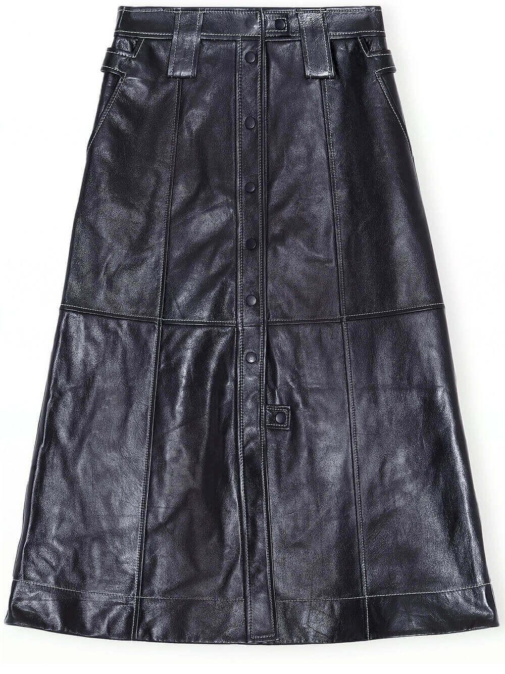 Lamb Leather Midi Skirt Item # F5199
