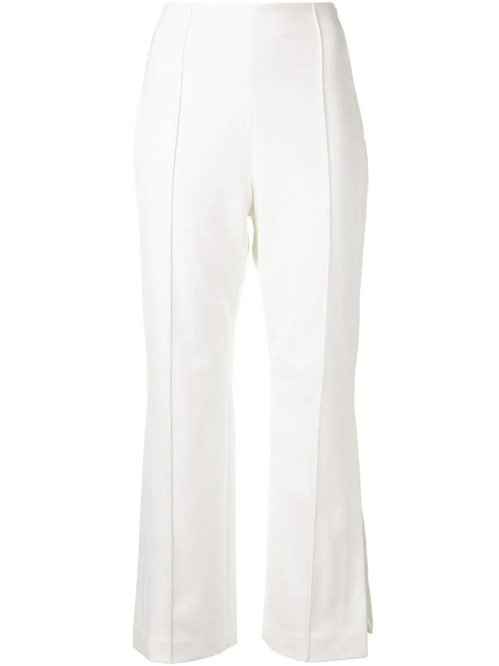 Jas Cropped Flare Pant With Side Slit Lace