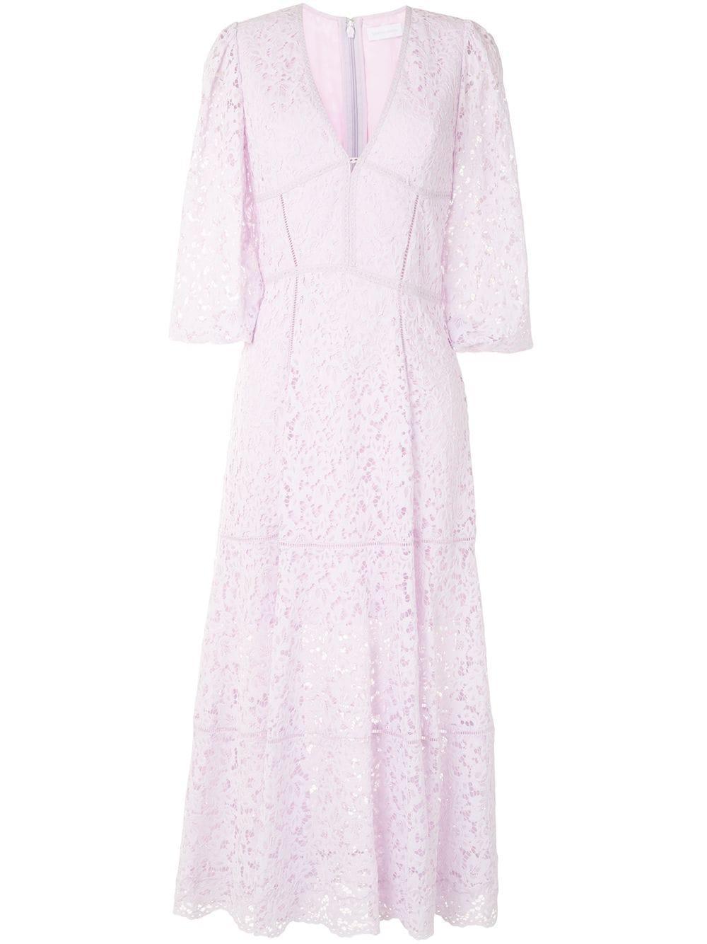 Puff Sleeve Lace Midi Dress