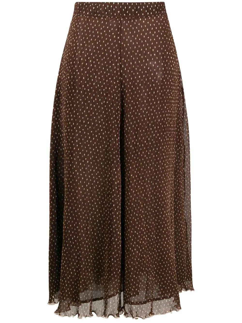 Pleated Geogette Printed Midi Skirt