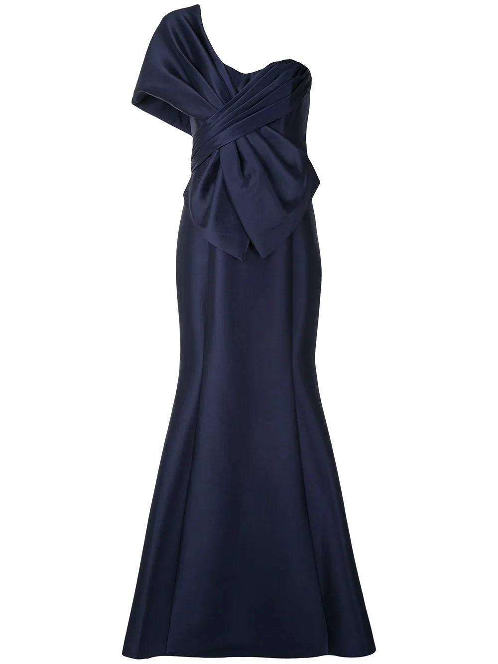 One Shoulder Wrap Detail Gown