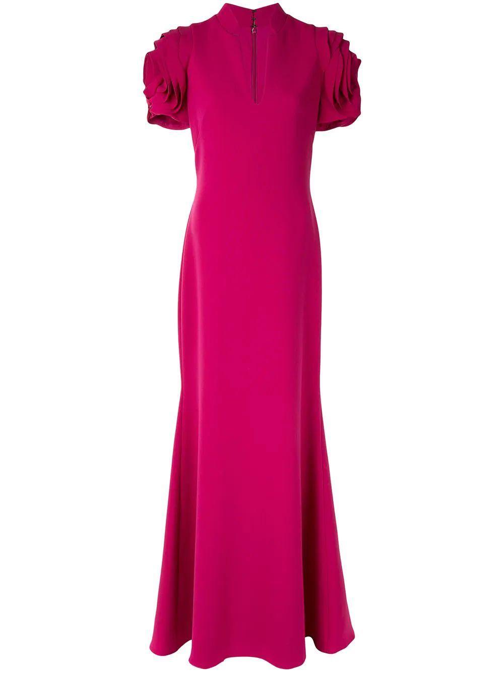 Rosette Sleeve Gown