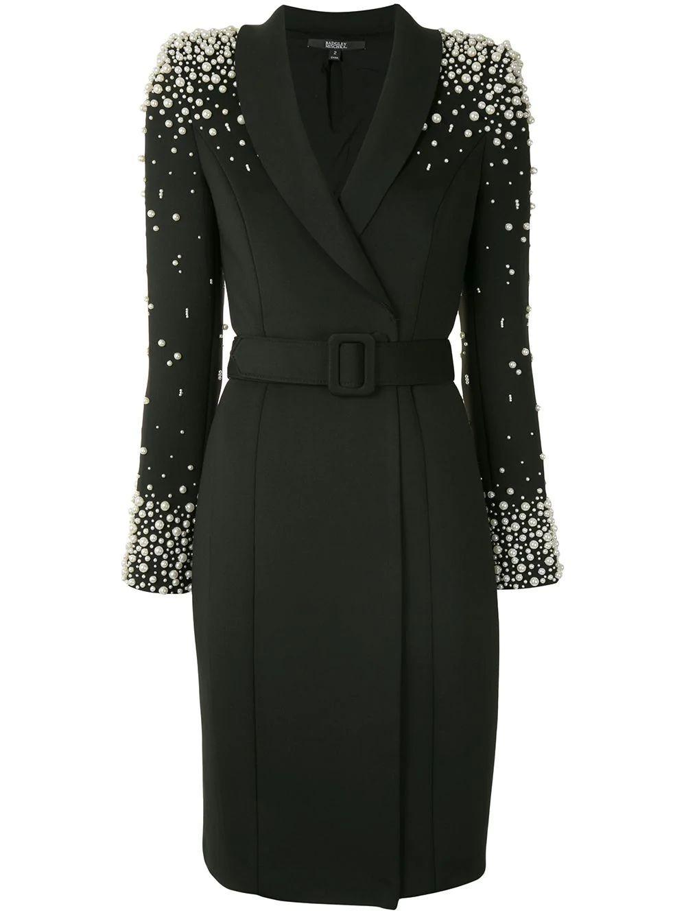Pearl Embellished Blazer Dress Item # SC2541-F20