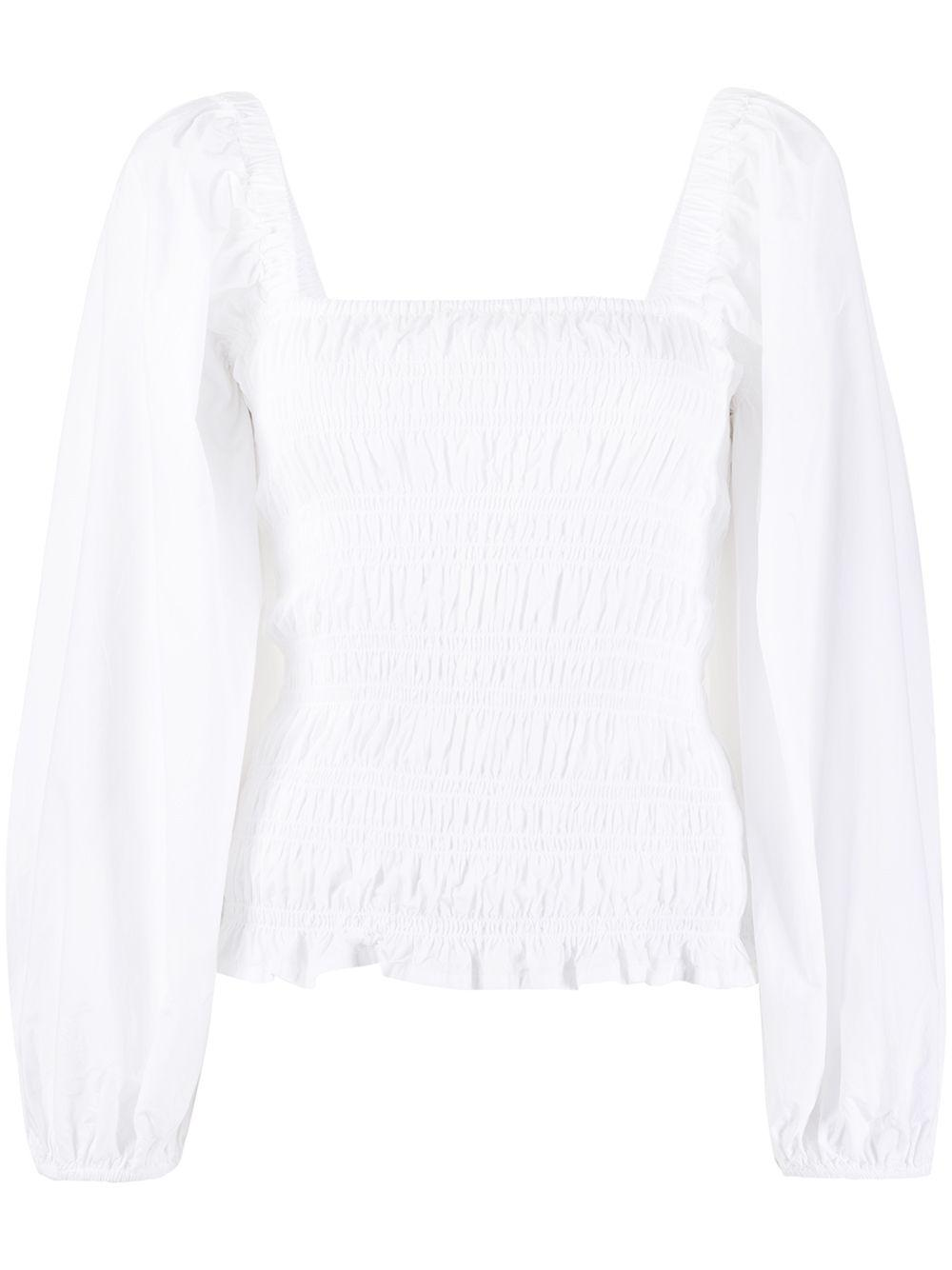 Cotton Poplin Puff Sleeve Blouse