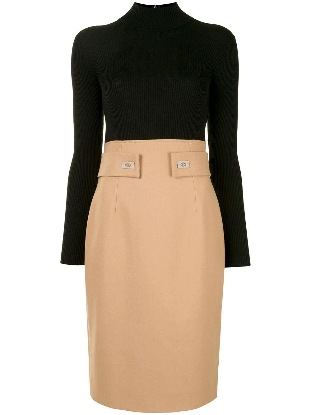 Two-Tone Turtleneck Dress