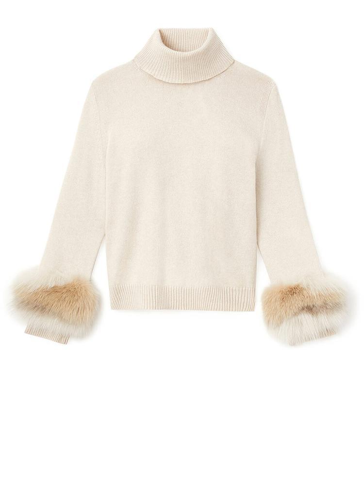 Turtleneck Sweater With Fur Trim