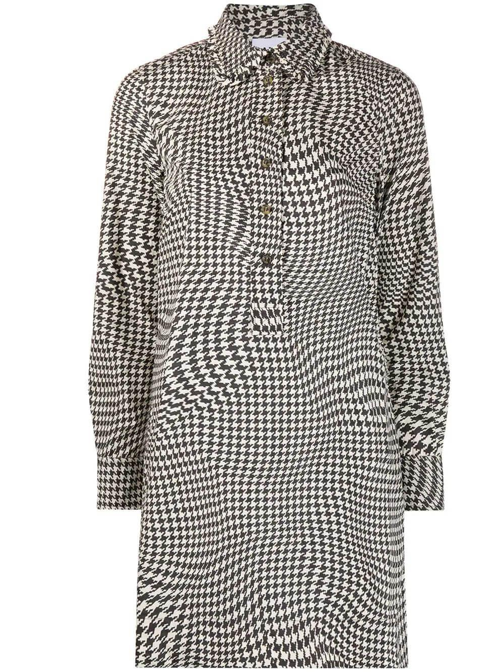 Printed Gingham Cotton Poplin Tunic Item # F5117