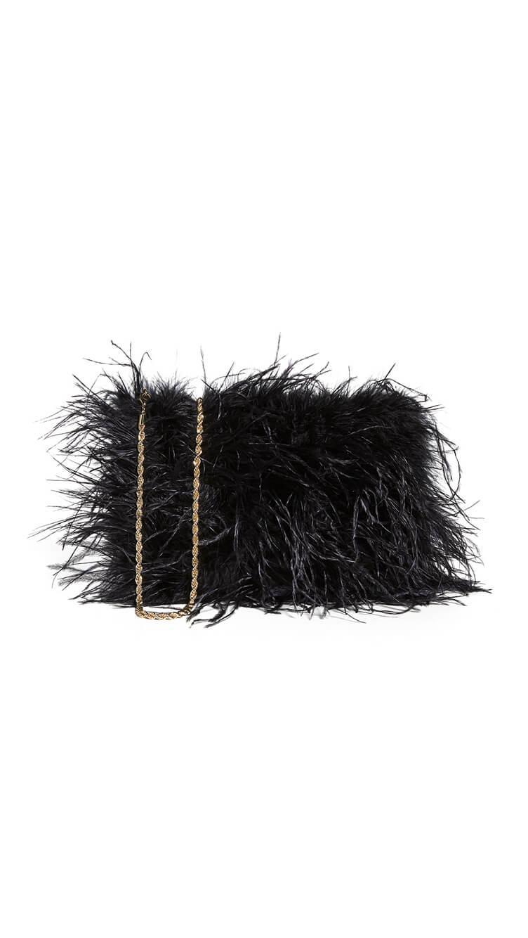 Zelda Feather Baguette Bag