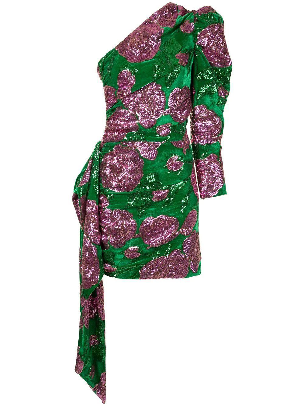 Sequin Embroidered Velvet Dress Item # 100DR-111