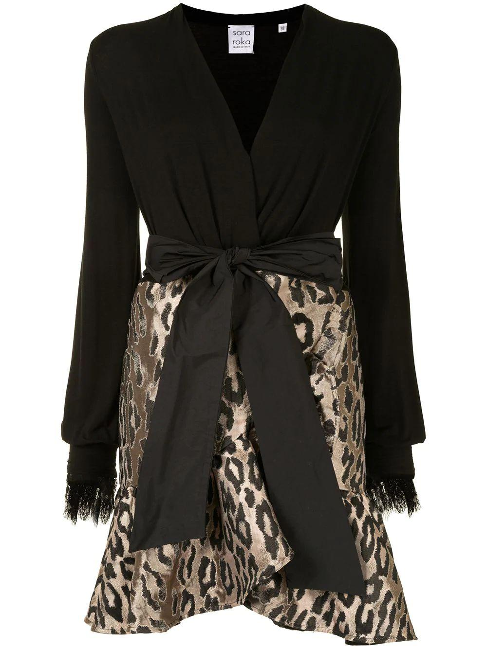 Leopard Print Dress With Lace Accents