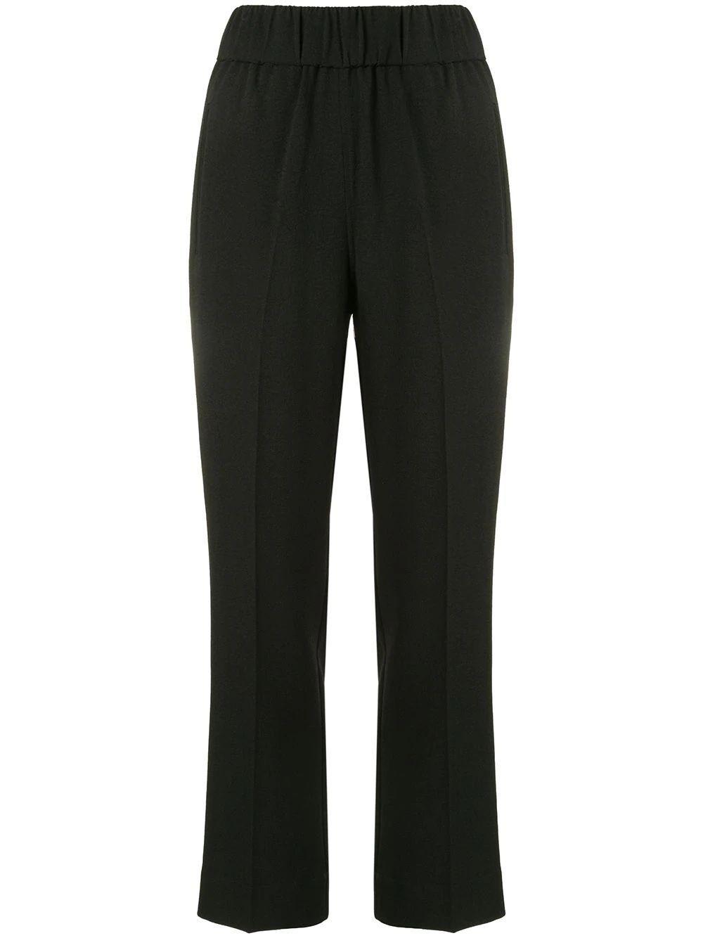 Heavy Crepe Elastic Waist Pants