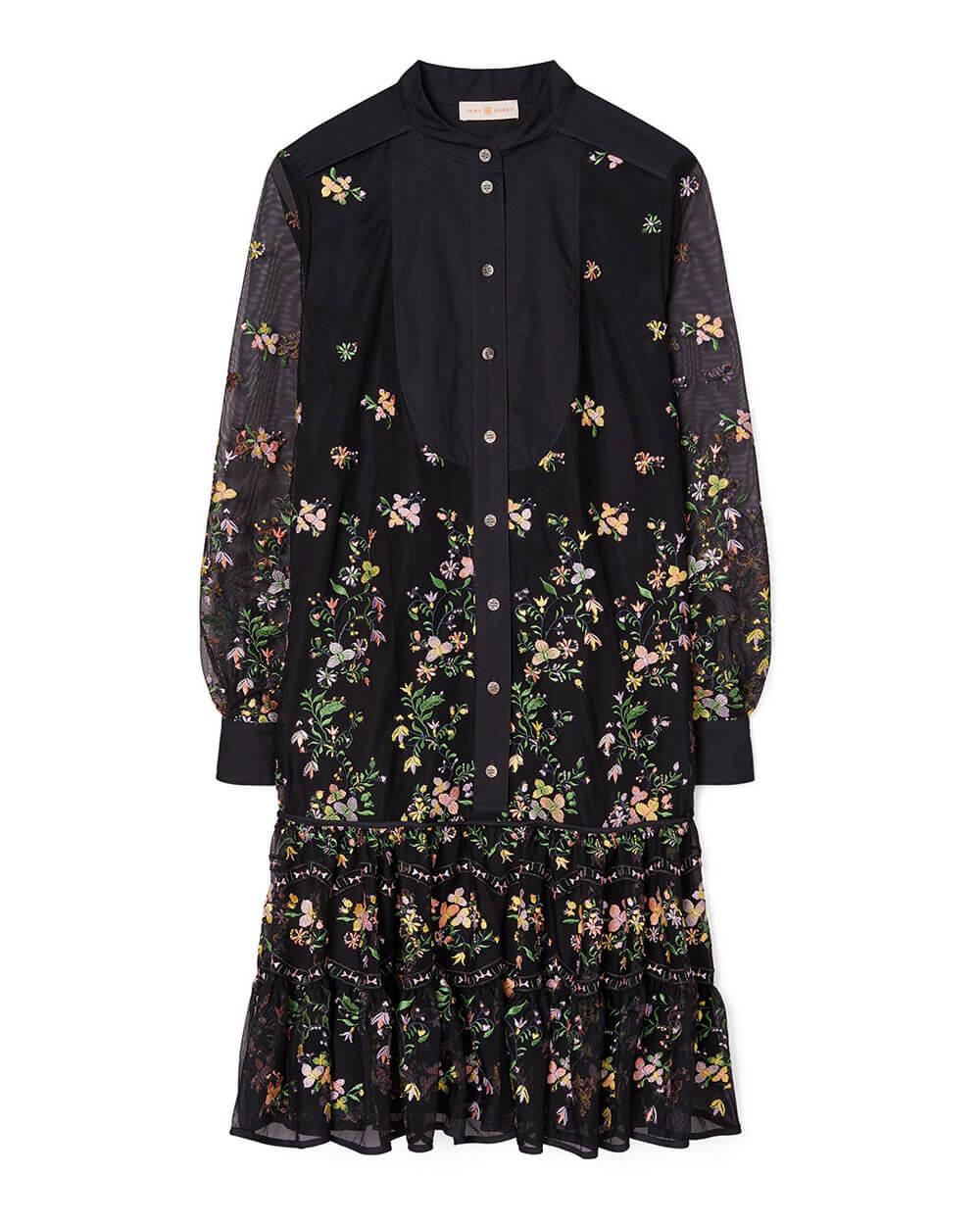 Embroidered Tulle Tunic Dress
