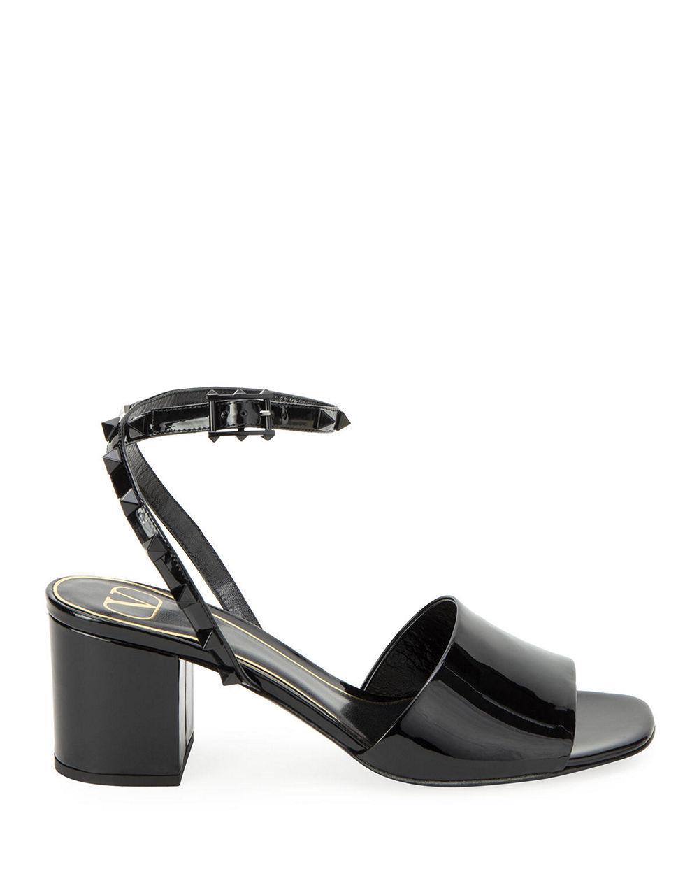Rockstud 60mm Patent Block Heel Sandal
