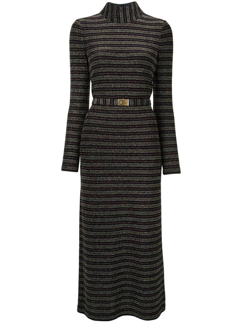 Striped Mock Neck Dress