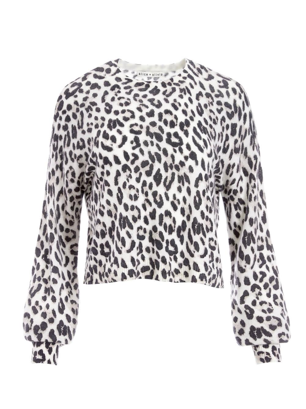 Ansley Leopard Cashmere Pullover