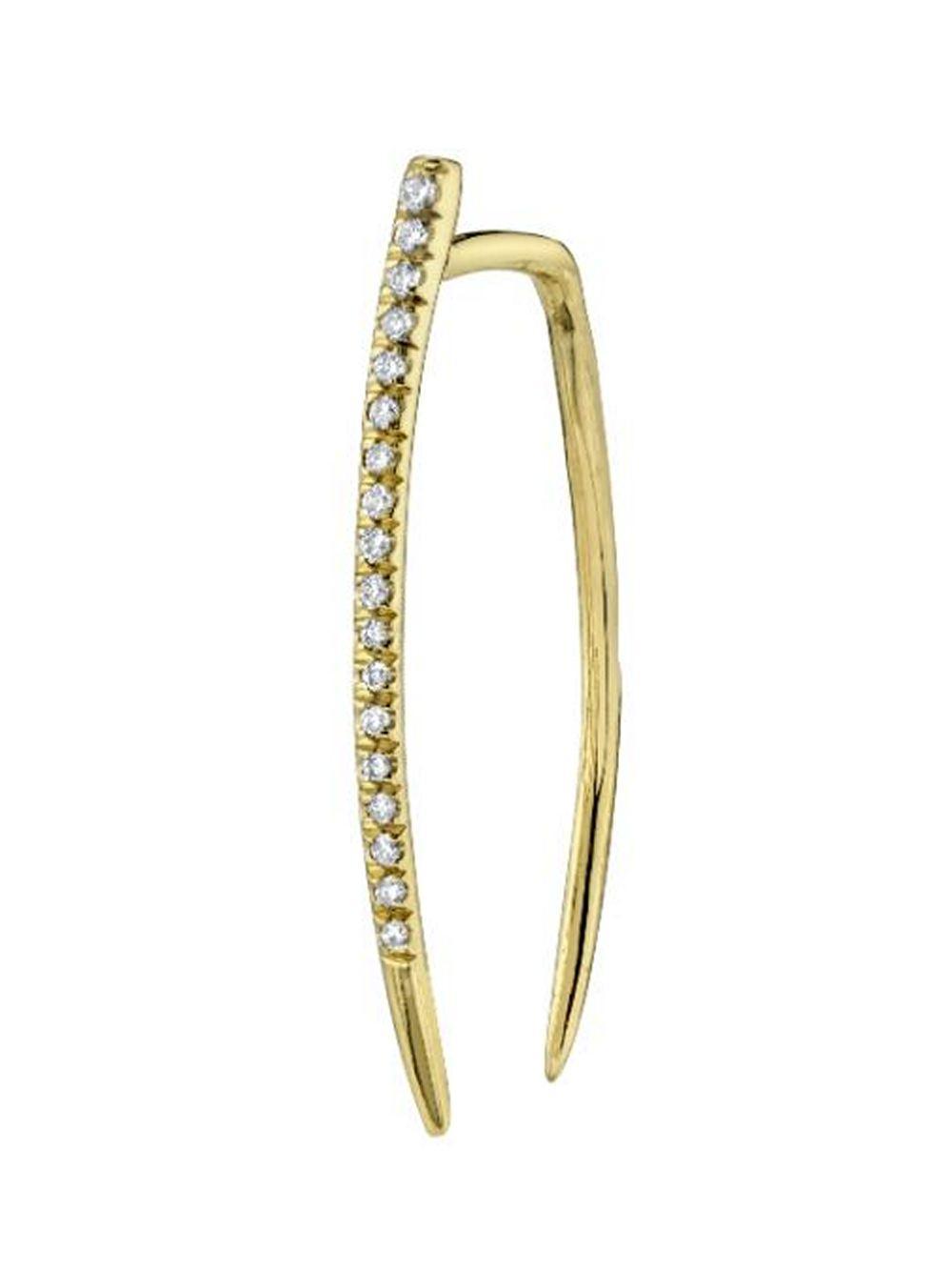 Large Tusk Single Earring With Pavé Diamonds