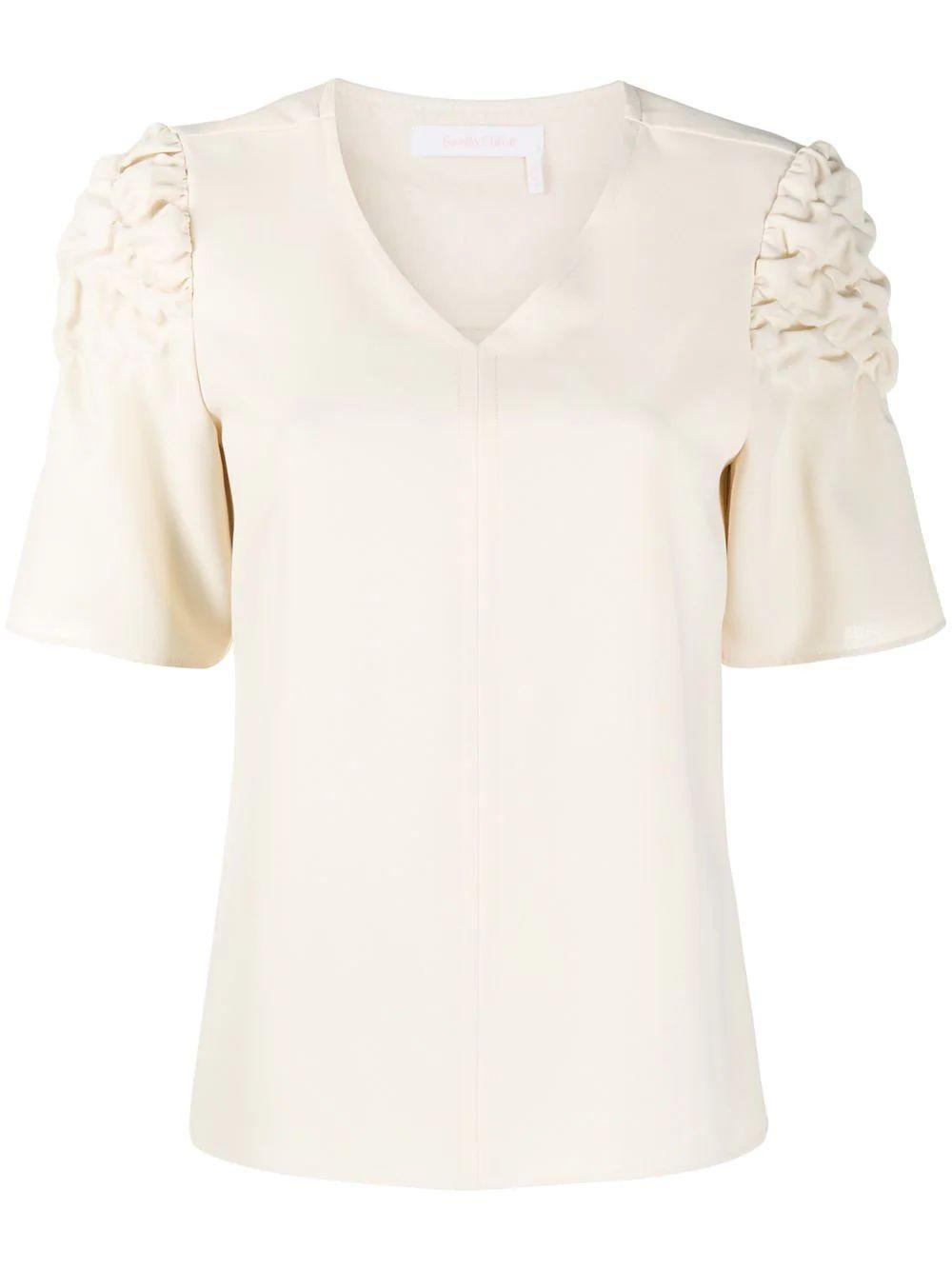 Crinkled-Shoulder Short-Sleeve Blouse