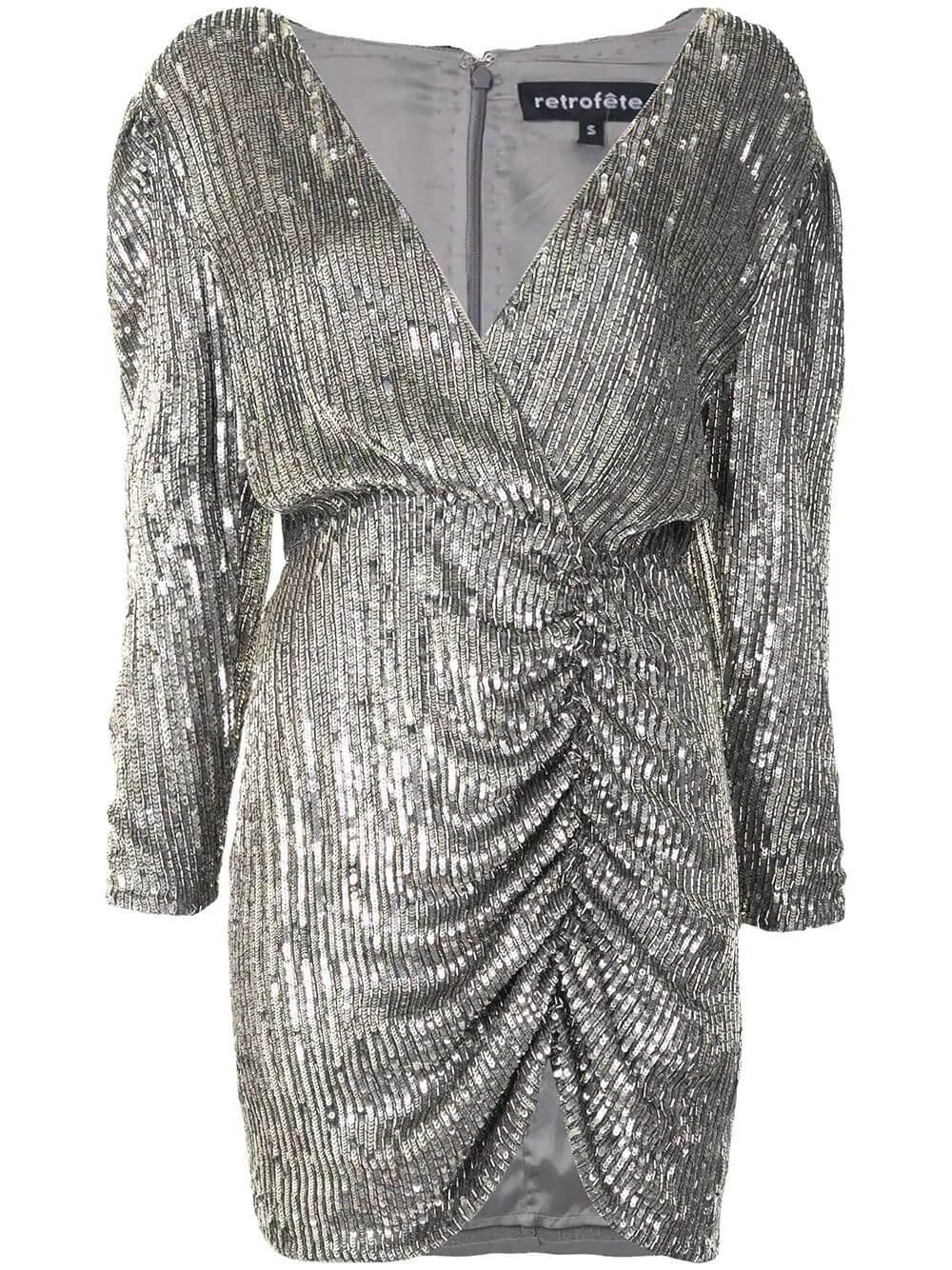Sequin-Embellished Fitted Dress