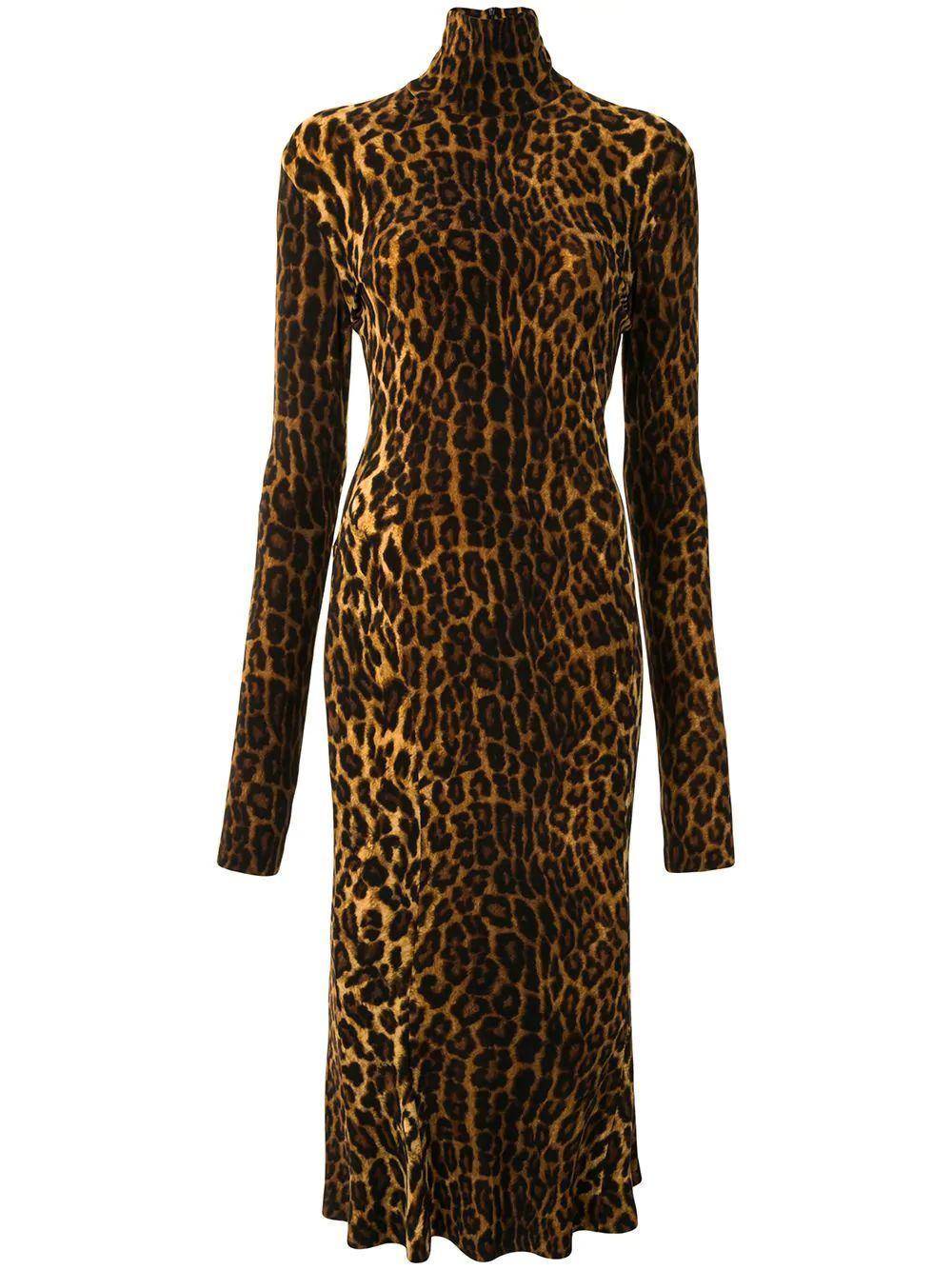 Leopard Turtleneck Dress