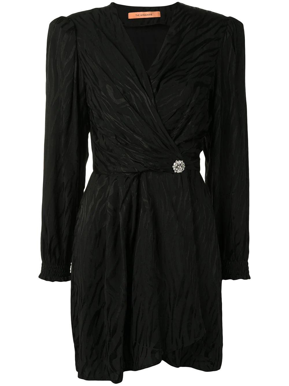 Flamina Wrap Long Sleeve Mini Dress Item # L02A670