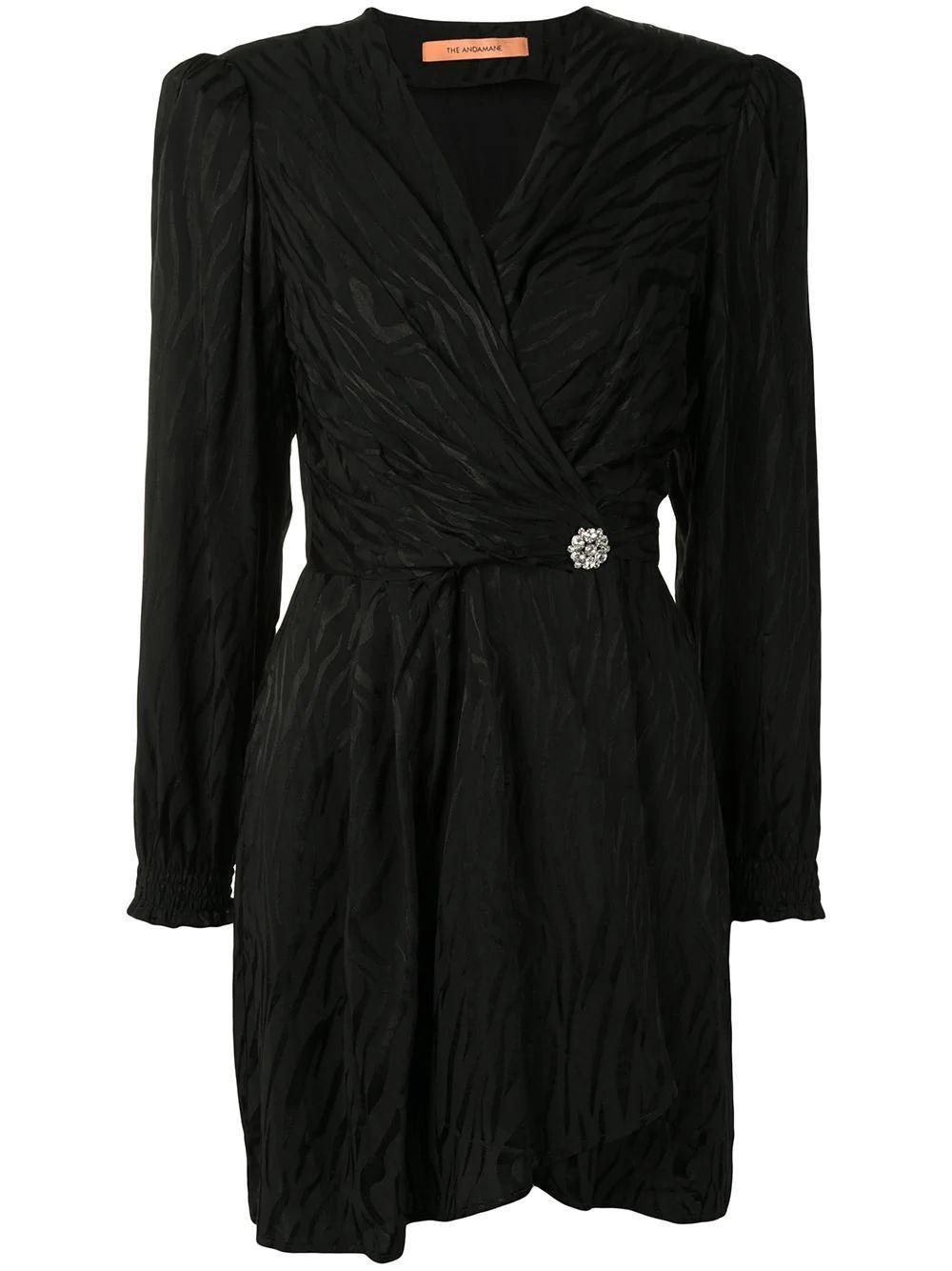 Flamina Wrap Long Sleeve Mini Dress