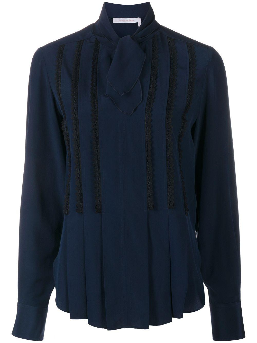 Scalloped- Lace Bow Blouse Item # CHS20WHT13011