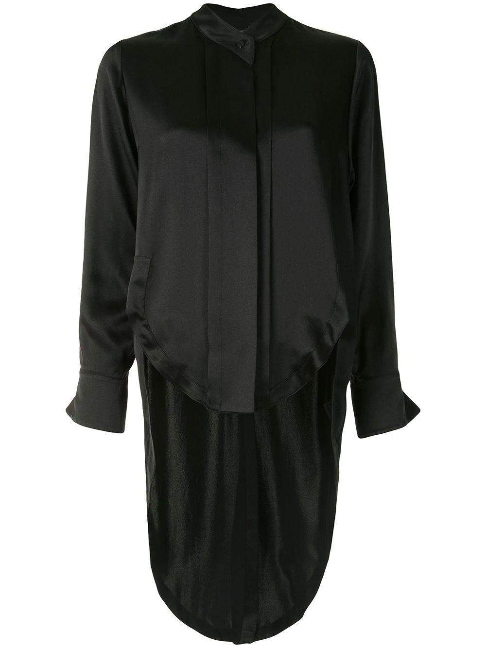 Asymmetric-Hem Long-Sleeve Shirt