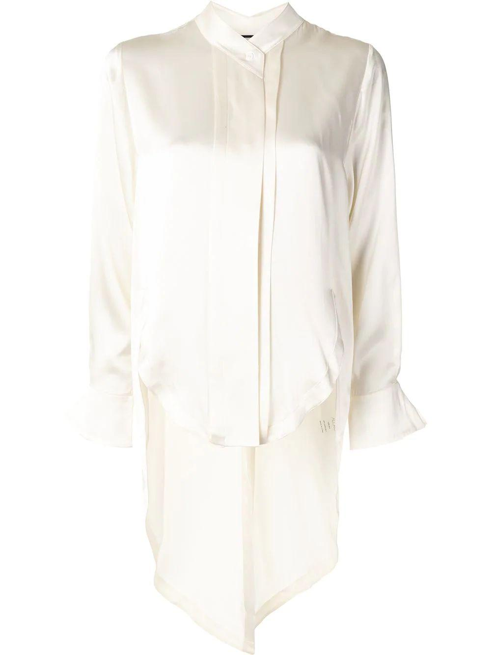 Asymmetric-Hem Long-Sleeve Shirt
