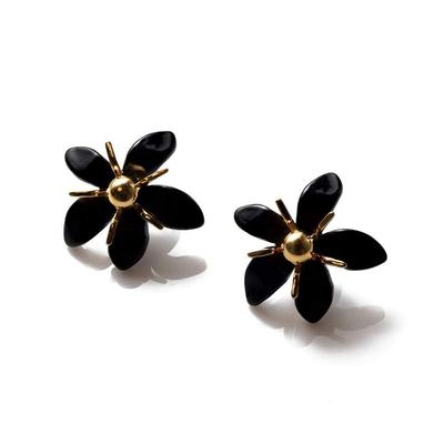 Trumpet Lily Button Earrings