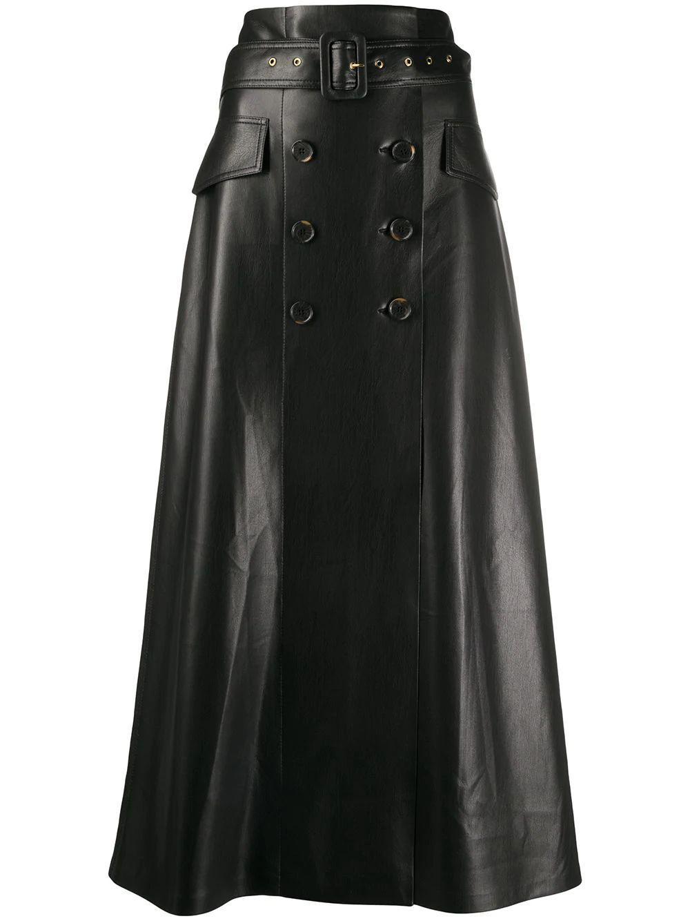 Zane Vegan Leather Midi Skirt Item # FWSK03199