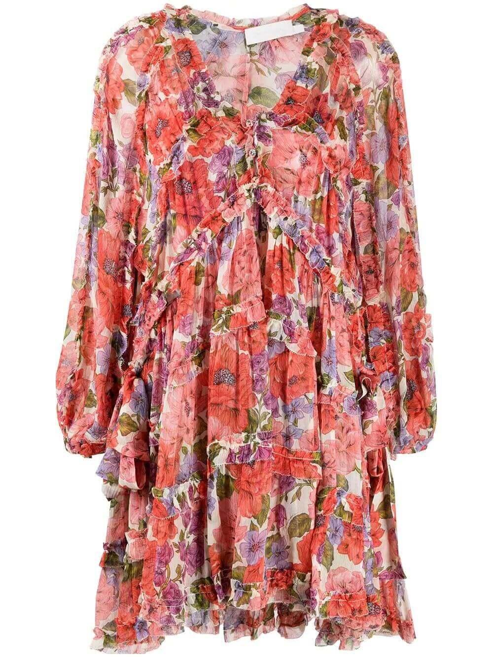 Poppy Frill Billow Mini Dress