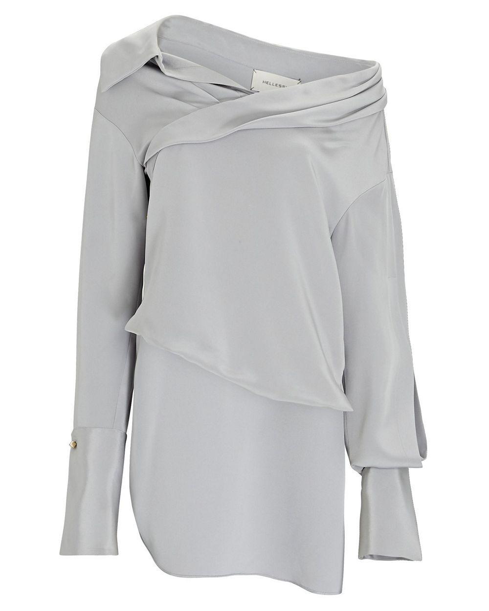 Stella Asymmetrical Drape Blouse Item # HA20T255-08