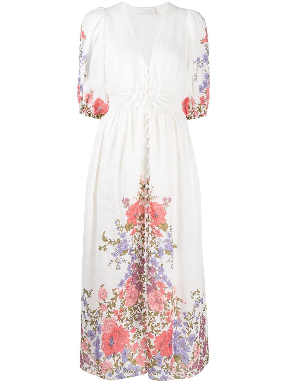 Poppy Shirred Waist Floral Print Dress Item # 9695DPOP