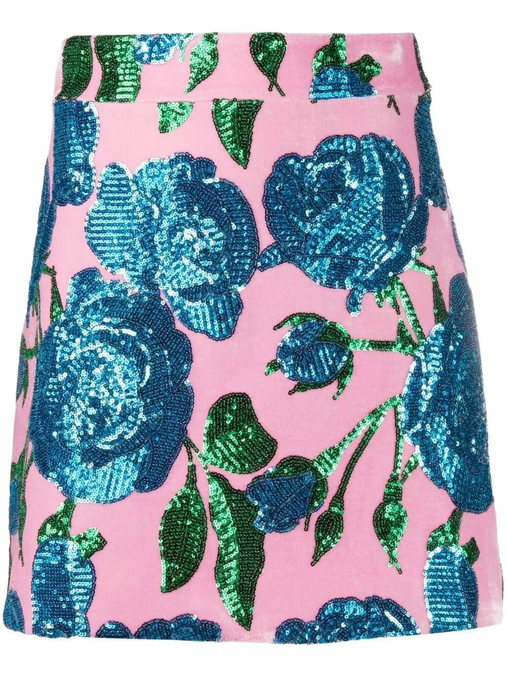 Sequin Velvet Floral Skirt