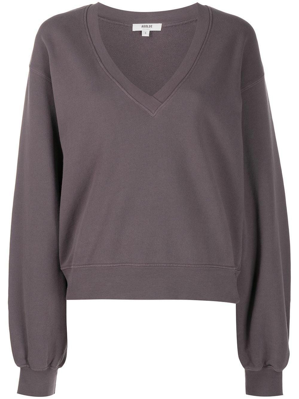 Balloon Sleeve V- Neck Sweatshirt Item # A7057