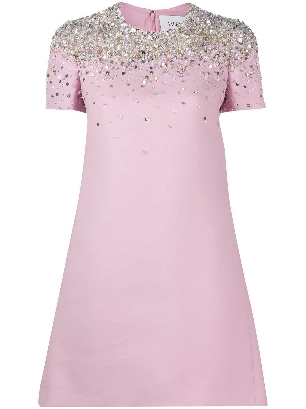 Embroidered Shoulder Shift Dress