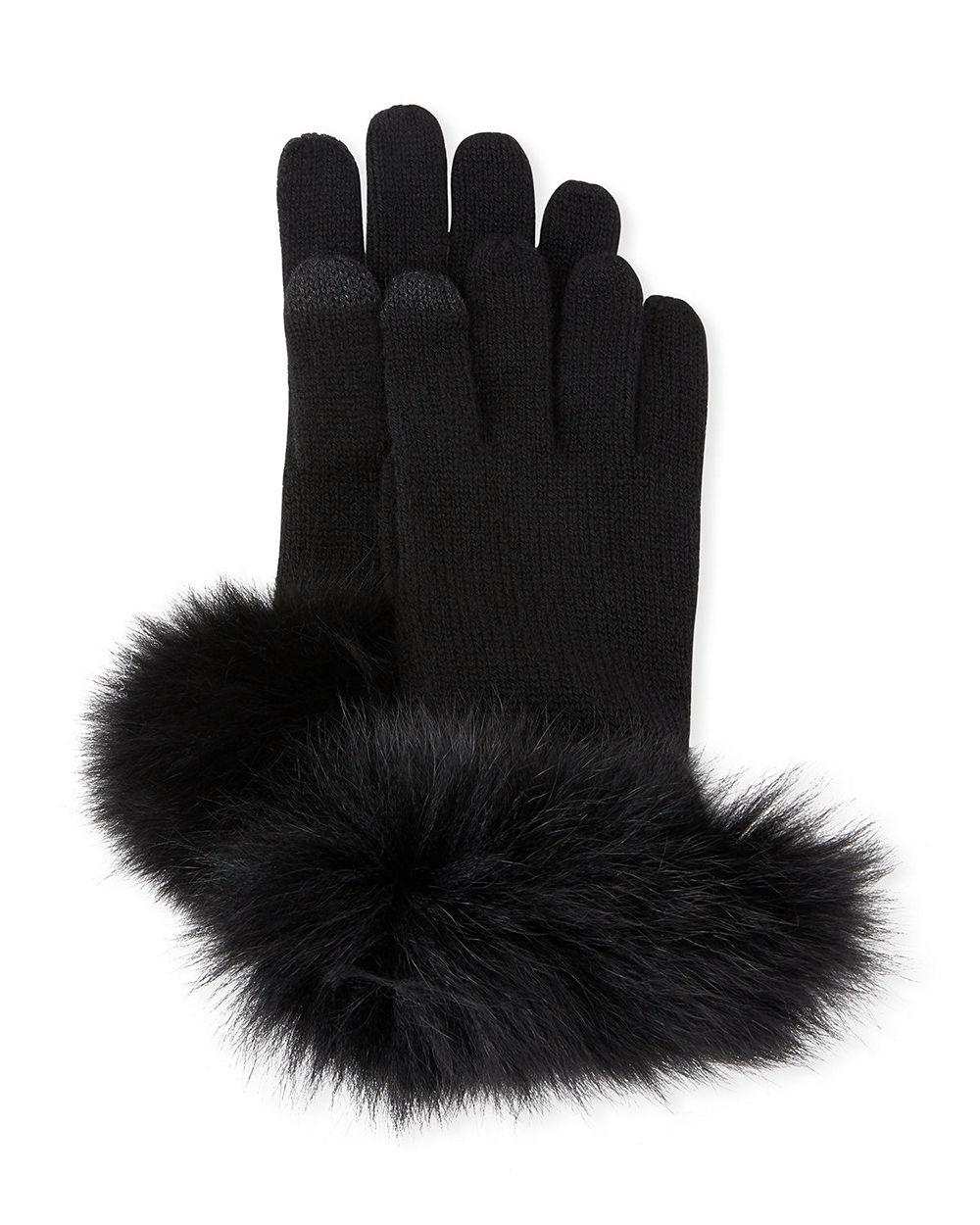 Fur Trimmed Cashmere Gloves Item # AC453F