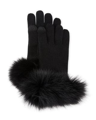Fur Trimmed Cashmere Gloves