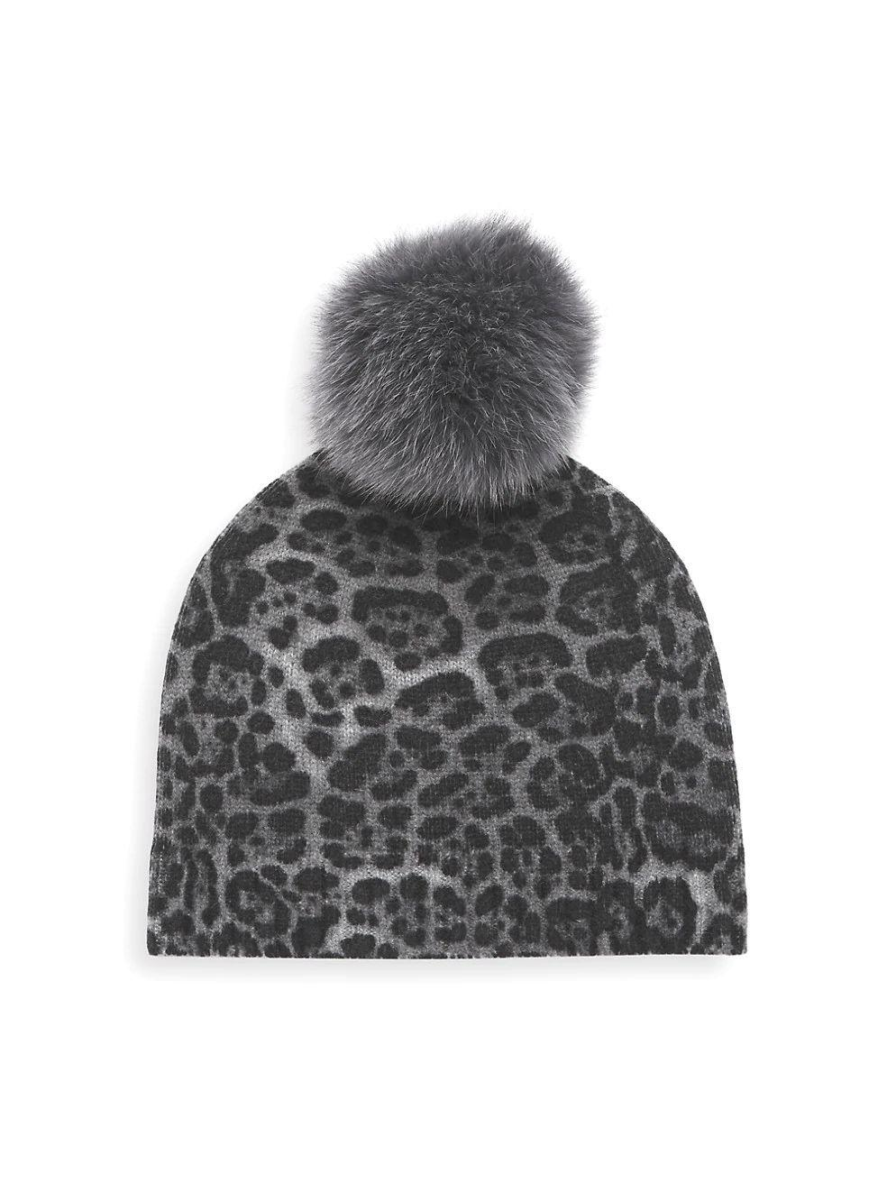 Leopard Beanie With Fur Pom