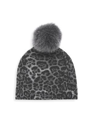 Leopard Beanie With Fur Pom